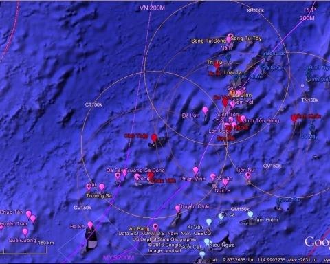Mer de Chine méridionale et orientale - Image satellite.