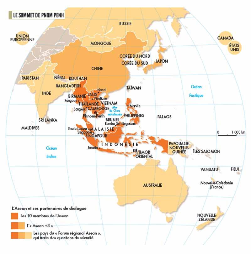 Carte des pays de l'ASEAN