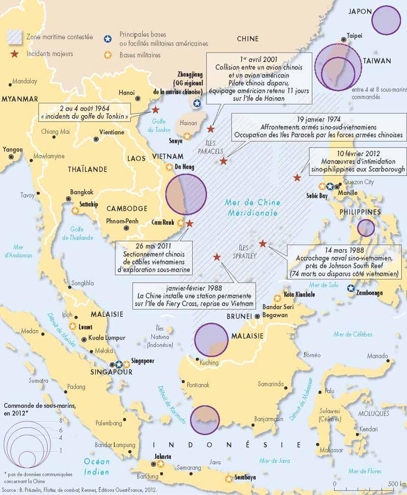 Carte Conflits en Mer de Chine Orientale et Méridionale