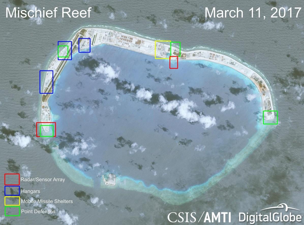 Installation militaire chinoise sur le récif Mischief du 11/03/2017 — © CSIS/AMTI/Digital Globe