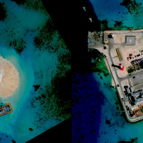 Images by DigitalGlobe, via the CSIS Asia Maritime Transparency Initiative, and CNES,
