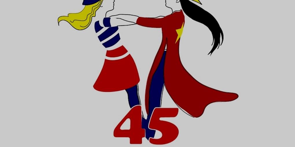 """Logo officiel """"Anniversaire 45 ans des relations diplomatiques France Vietnam""""."""